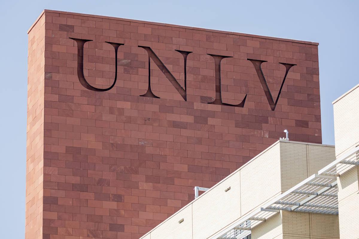 UNLV is seen on Greenspun Hall, in Las Vegas on Thursday morning, Aug. 27, 2020. (Elizabeth Bru ...
