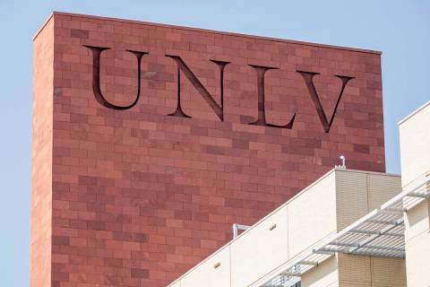 UNLV is seen on Greenspun Hall, in Las Vegas on Thursday morning, Aug. 27, 2020. (Elizabeth Bru ...