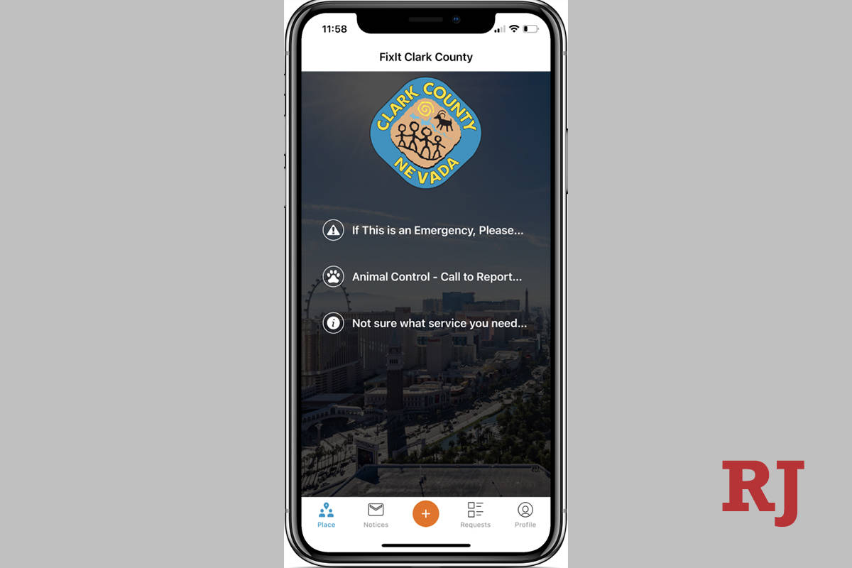 "The main menu of the reporting tool app, ""FixIt Clark County."" (Mya Constantino / Las Vegas Rev ..."