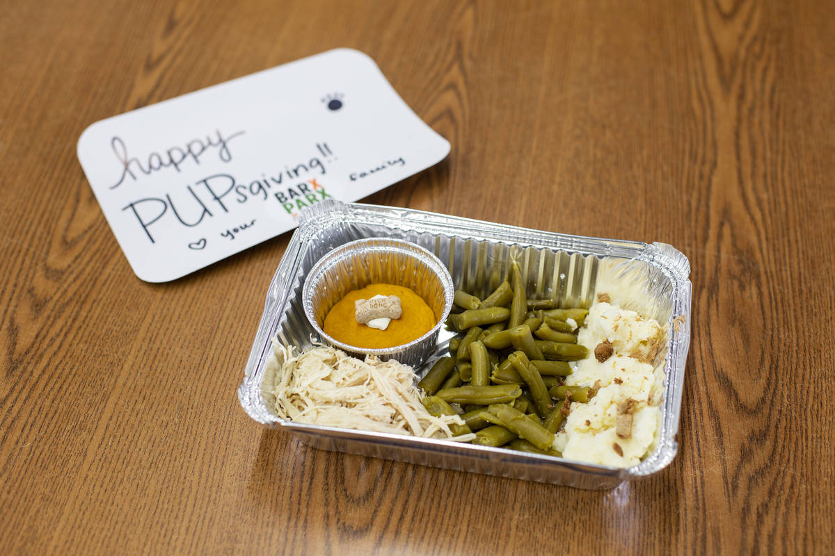 "A ""PUPsgiving"" meal donated by Barx Parx at City of Henderson Animal Care and Control ..."