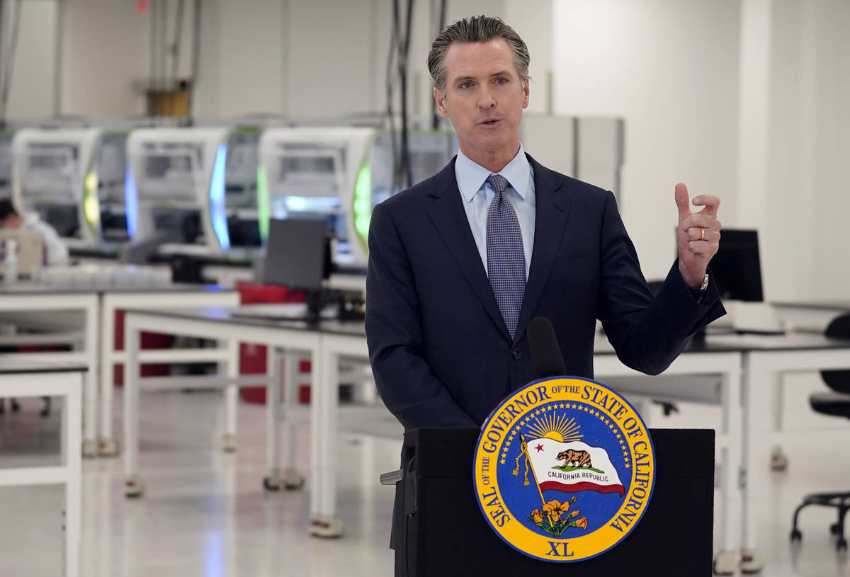 FILE - In this Oct. 30, 2020, file photo, California Gov. Gavin Newsom speaks at a COVID-19 tes ...
