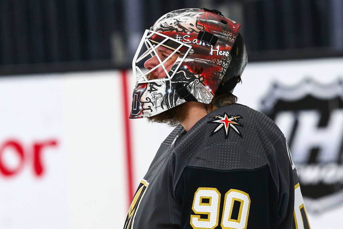 Golden Knights goaltender Robin Lehner (90) before the start of the second period of an NHL hoc ...