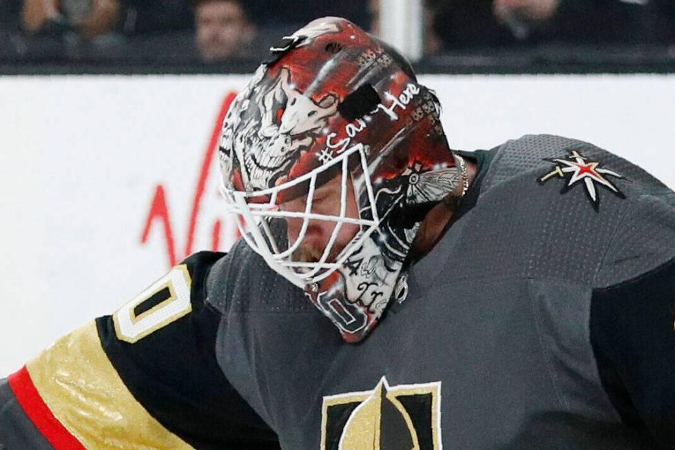 Vegas Golden Knights goaltender Robin Lehner (90) plays against the Buffalo Sabres in an NHL ho ...