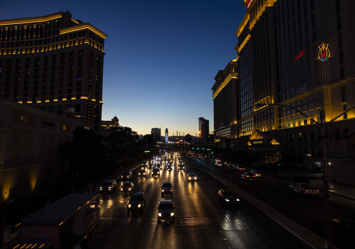Traffic moves down Flamingo Road while approaching the Las Vegas Strip Thursday, Nov. 19, 2020. ...
