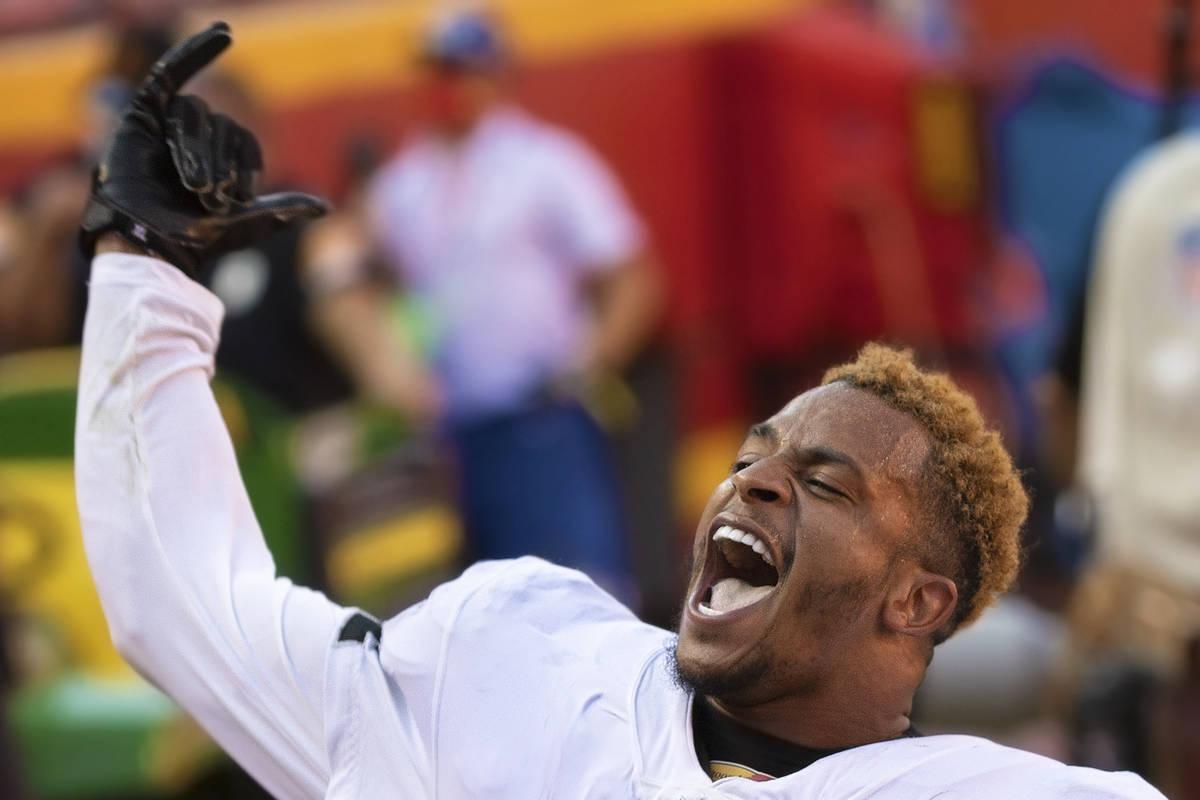 Las Vegas Raiders strong safety Johnathan Abram (24) celebrates after defeating the Kansas City ...