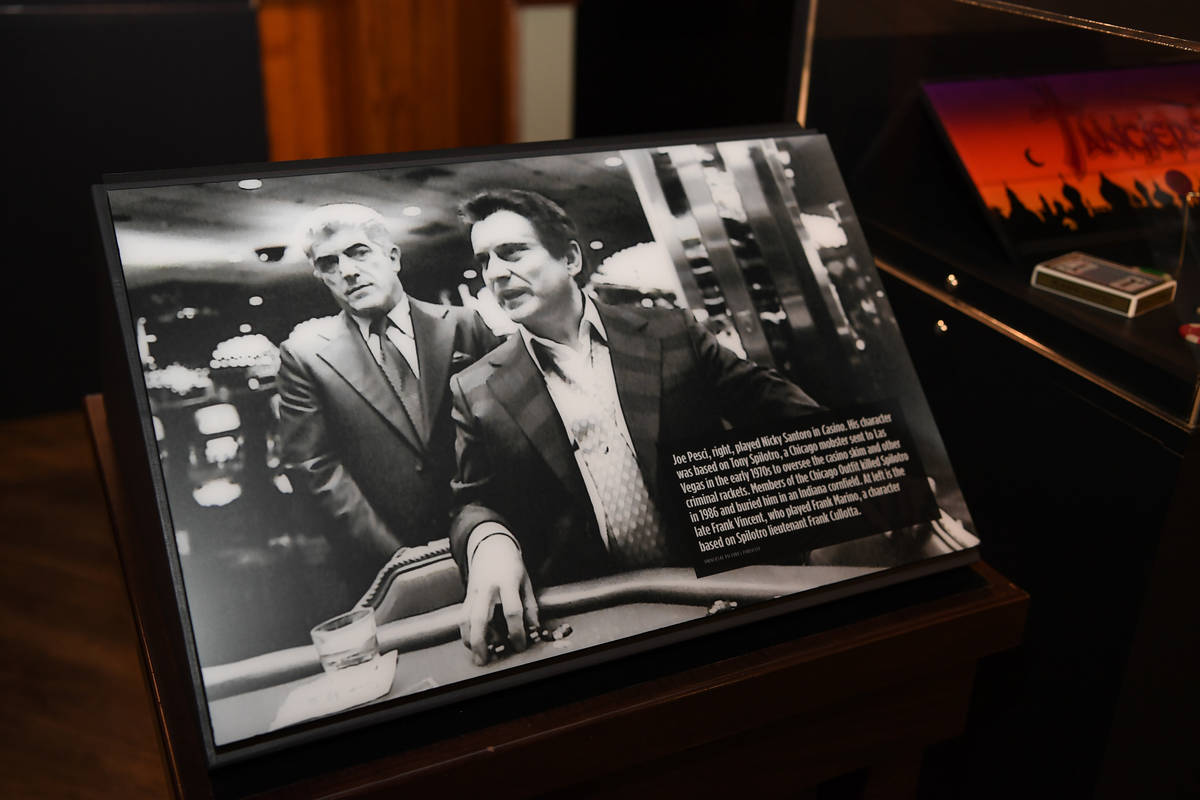 "A view of The Mob Museum's exhibit commemorating the 25th anniversary the film ""Casino"" i ..."