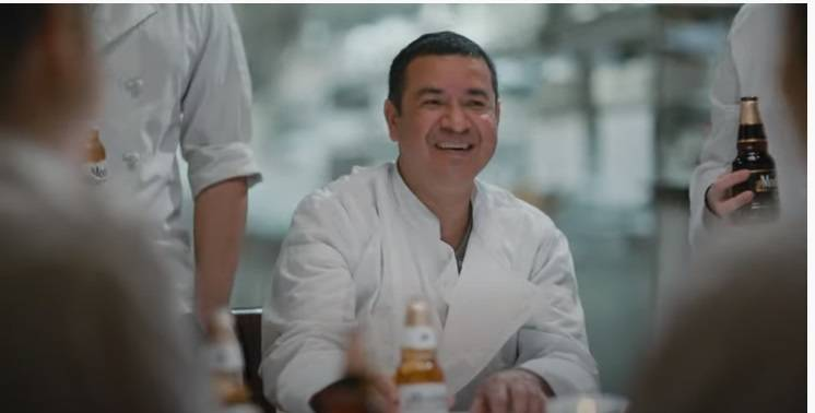 Chef Eduardo Perez in a screengrab from the Modelo commercial. (Modelo)