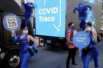 Las Vegas performers, including Chloe Bunce, left, and Rebecca O'Hara put on a show at the The ...