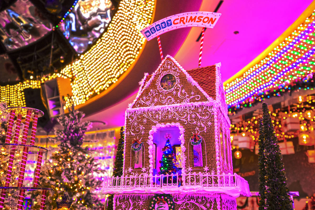 A multi-level gingerbread house at Red Rock Resort's Christmas-themed popup bar Merry Crimson o ...