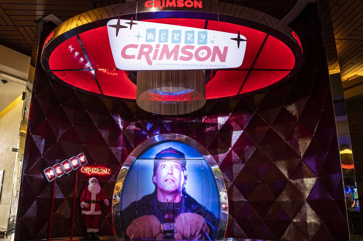 The entrance to Red Rock Resort's Christmas-themed popup bar Merry Crimson on Monday, Nov. 23, ...