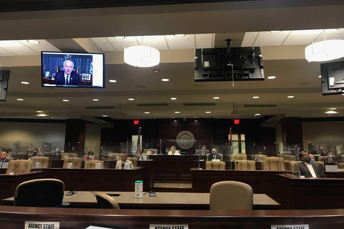 FILE - In this Nov. 10, 2020 file photo, Arkansas Gov. Asa Hutchinson speaks remotely to legisl ...