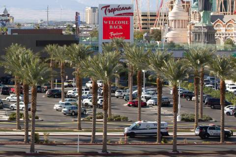 Metropolitan police investigate a shooting at Tropicana on Saturday, Nov. 21, 2020, in Las Vega ...