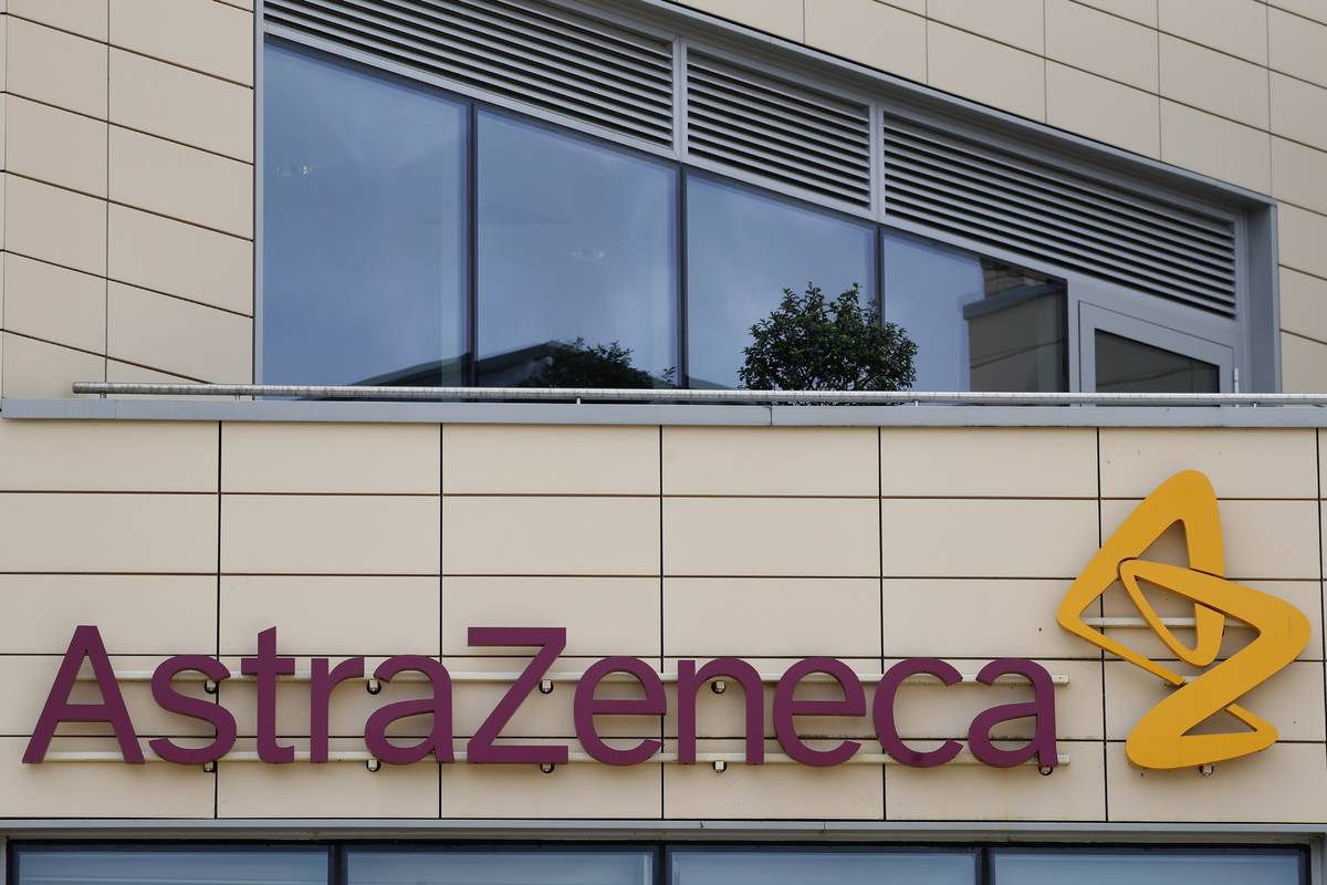 FILE - In this Saturday, July 18, 2020 file photo a general view of AstraZeneca offices and the ...