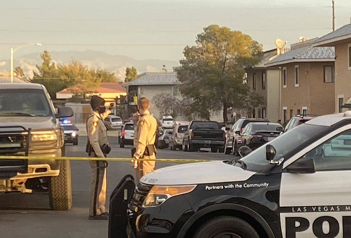 Las Vegas police investigate the shooting of a woman in the 1300 block of Kari Lee Court, near ...