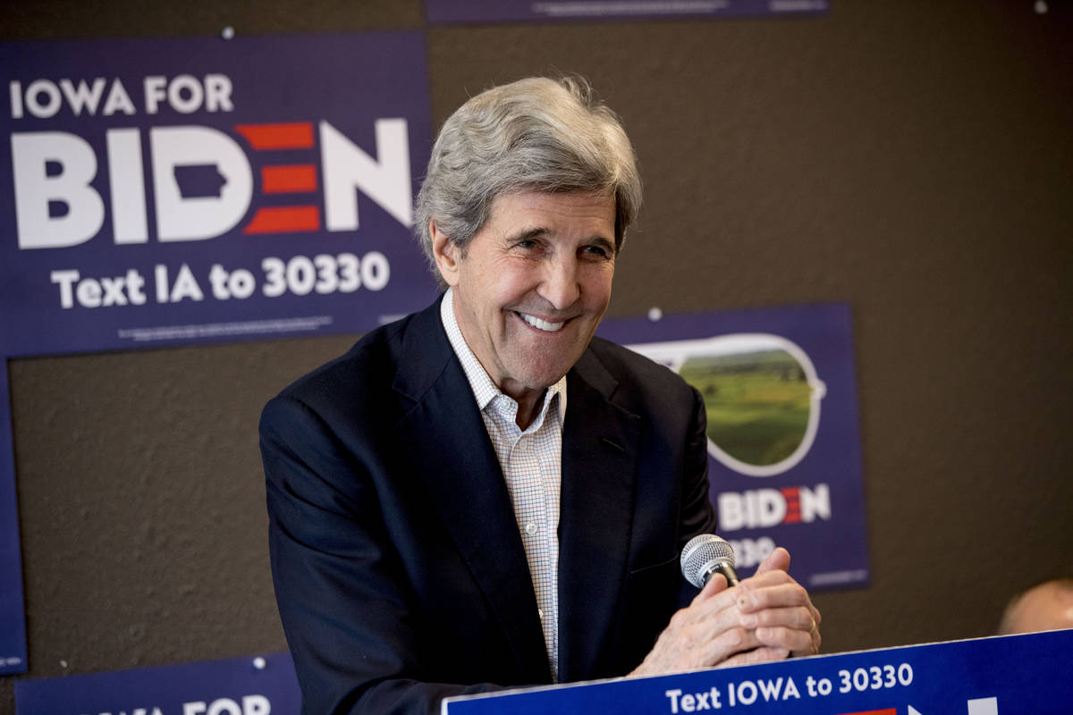 FILE - In this Jan. 9, 2020, file photo former Secretary of State John Kerry smiles while speak ...