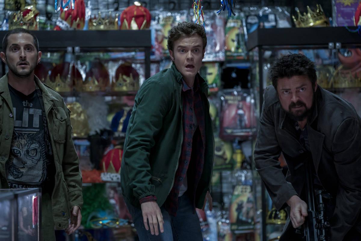 "From left Tomer Capon, Jack Quaid and Karl Urban star in ""The Boys."" (Panagiotis Pantazidis/Ama ..."