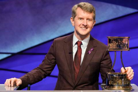 "This image released by ABS shows contestant Ken Jennings with a trophy on ""JEOPARDY! The G ..."