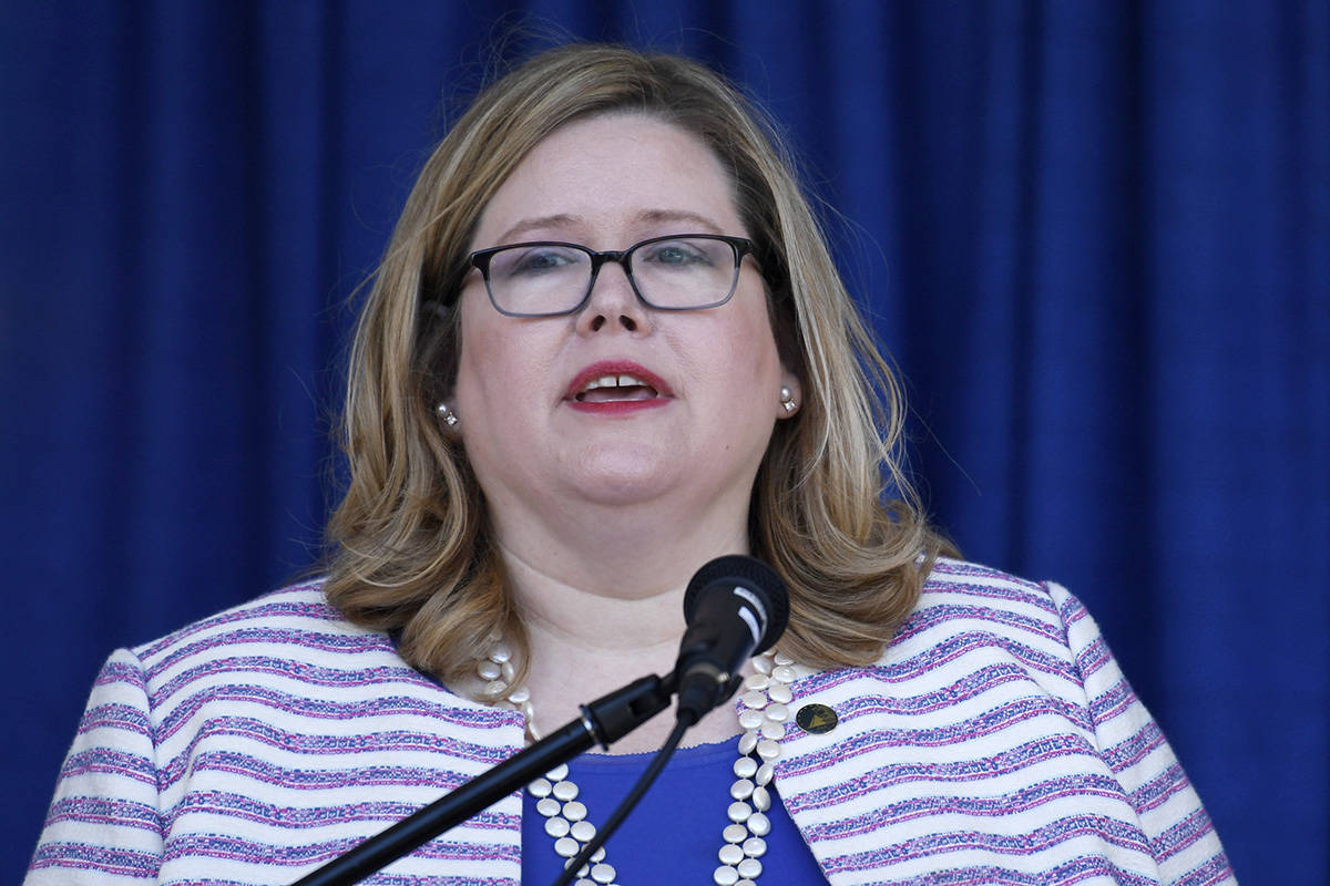 FILE - In this June 21, 2019 file photo, General Services Administration Administrator Emily Mu ...
