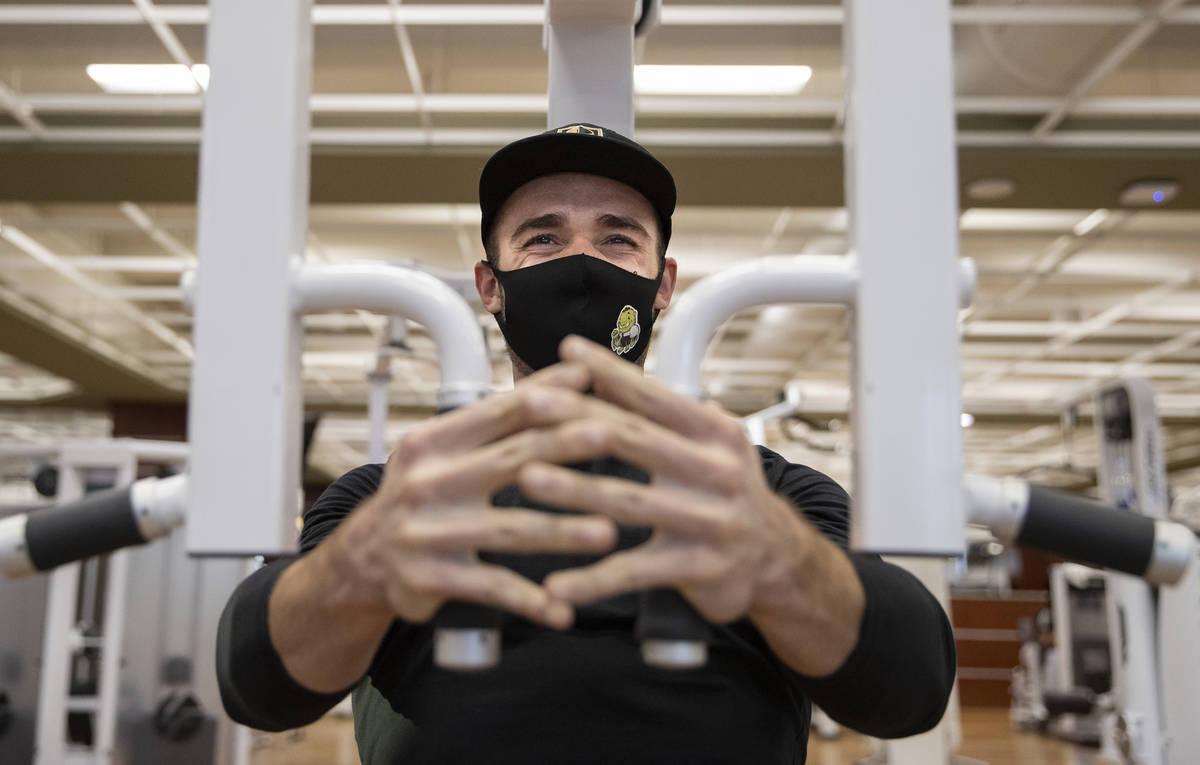 Travis Noone works out at Life Time Athletic on Monday, Nov. 23, 2020, in Las Vegas. (Benjamin ...