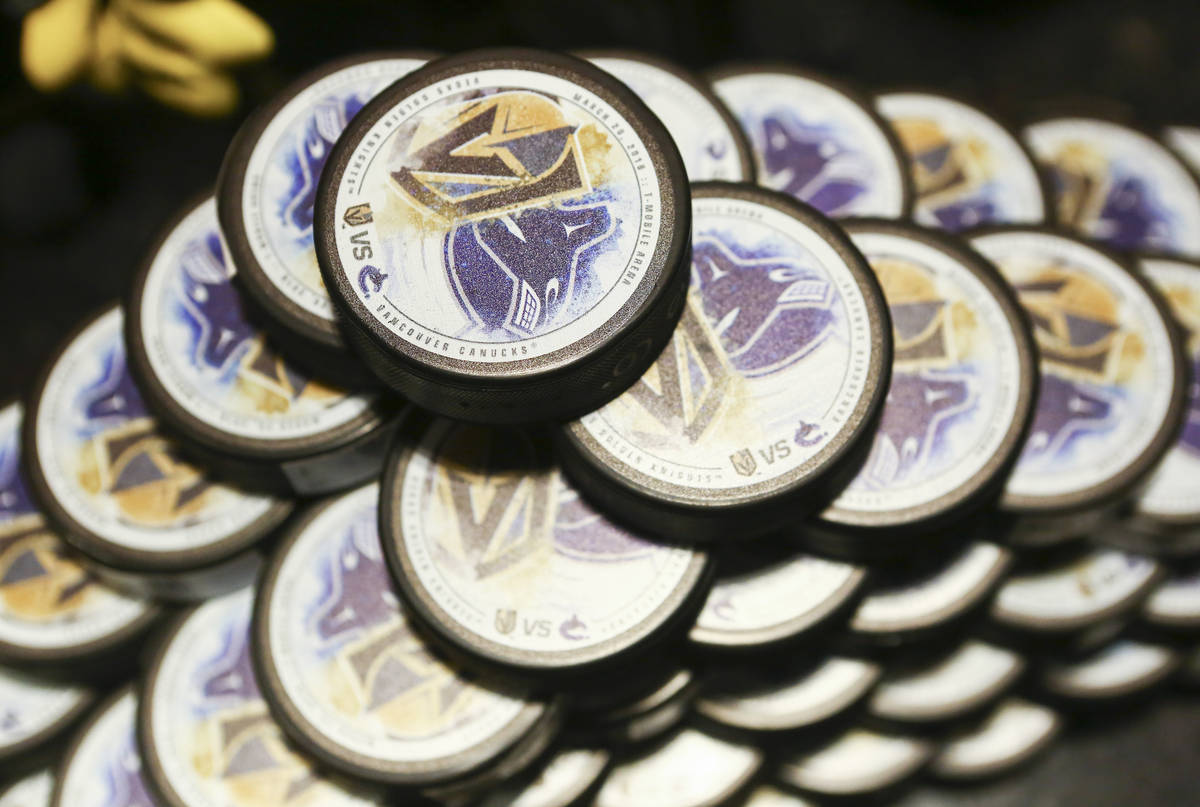 Limited edition gameday pucks available to customers before the Golden Knights play the Vancouv ...