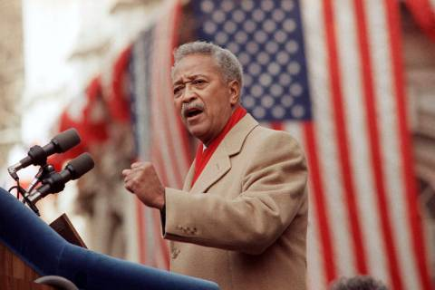 FILE - In this Monday, Jan. 2, 1990, file photo, David Dinkins delivers his first speech as may ...