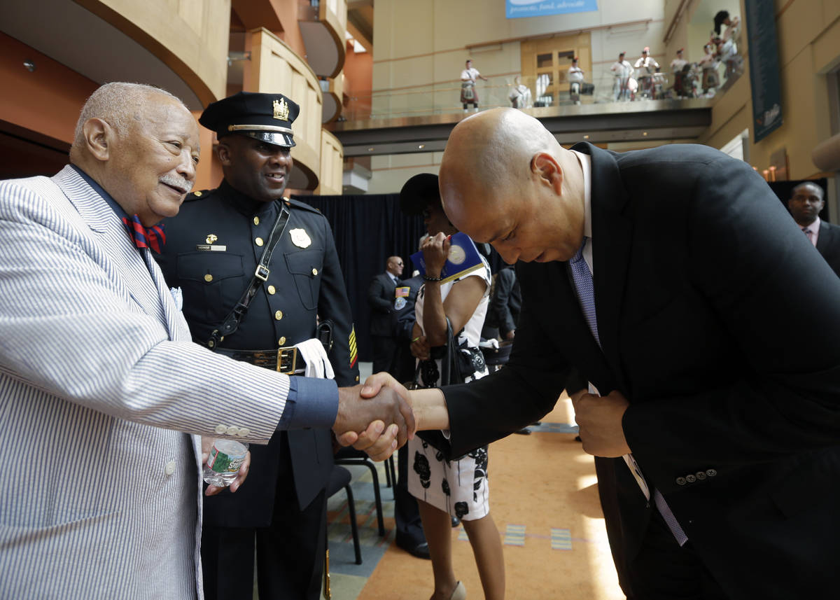 FILE - In this Tuesday, July 1, 2014, file photo, senator and former Newark Mayor Cory Booker b ...