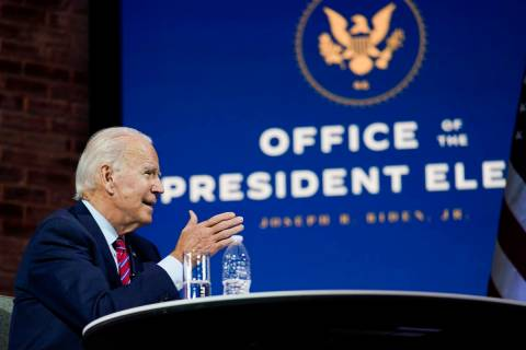 President-elect Joe Biden speaks during a meeting at The Queen theater Monday, Nov. 23, 2020, i ...