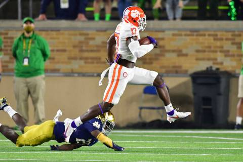 Clemson wide receiver Cornell Powell (17) runs with a reception for a touchdown as Notre Dame c ...