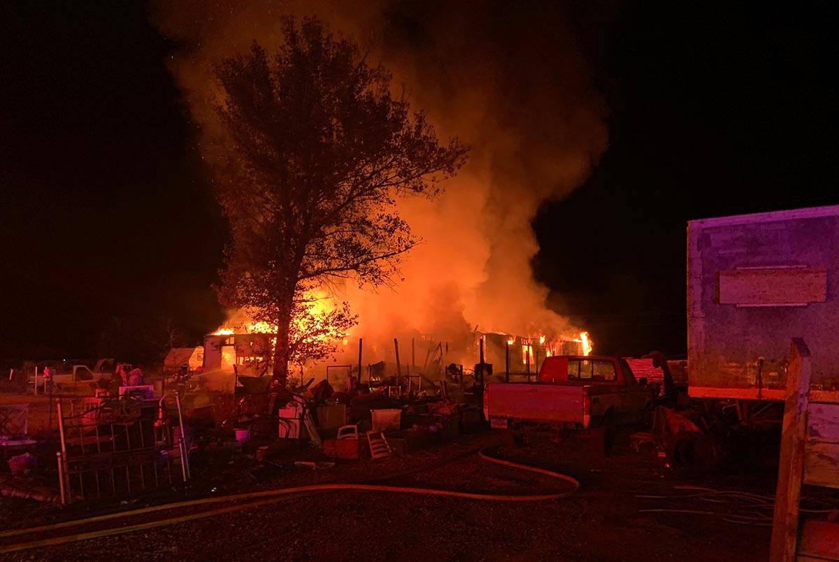 """One person was taken to a hospital after a """"large structure"""" fire in Pahrump on Tuesday, Nov. 2 ..."""