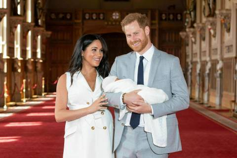 In a Wednesday May 8, 2019, file photo Britain's Prince Harry and Meghan, Duchess of Sussex, po ...