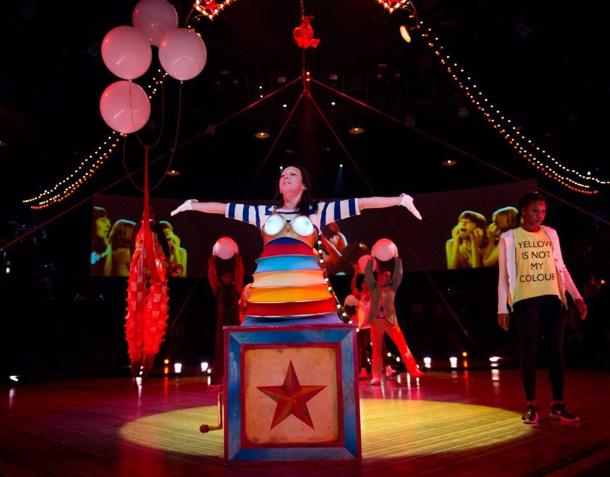 """Rehearsal for """"The Beatles Love"""" by Cirque du Soleil on Feb. 6, 2016, at The Mirage. ..."""
