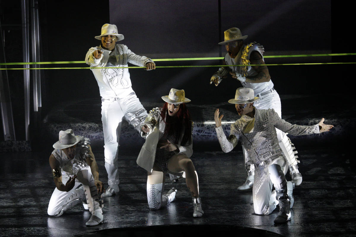 Cirque du Soleil performers debut part of the new Michael Jackson One show at Mandalay Bay in t ...