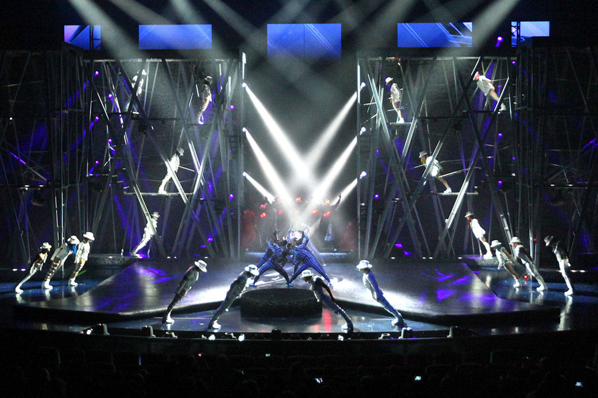 Cirque du Soleil performers debut part of the Michael Jackson One show at Mandalay Bay on May 7 ...