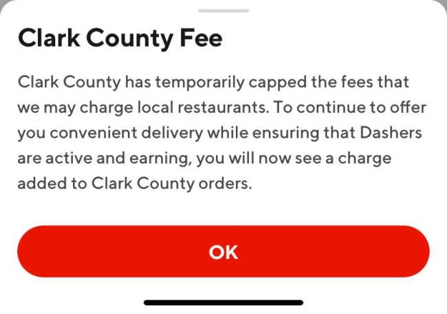 Penjelasan Doordash tentang Clark County Fee, yang dapat dibaca pelanggan saat mengklik i ...