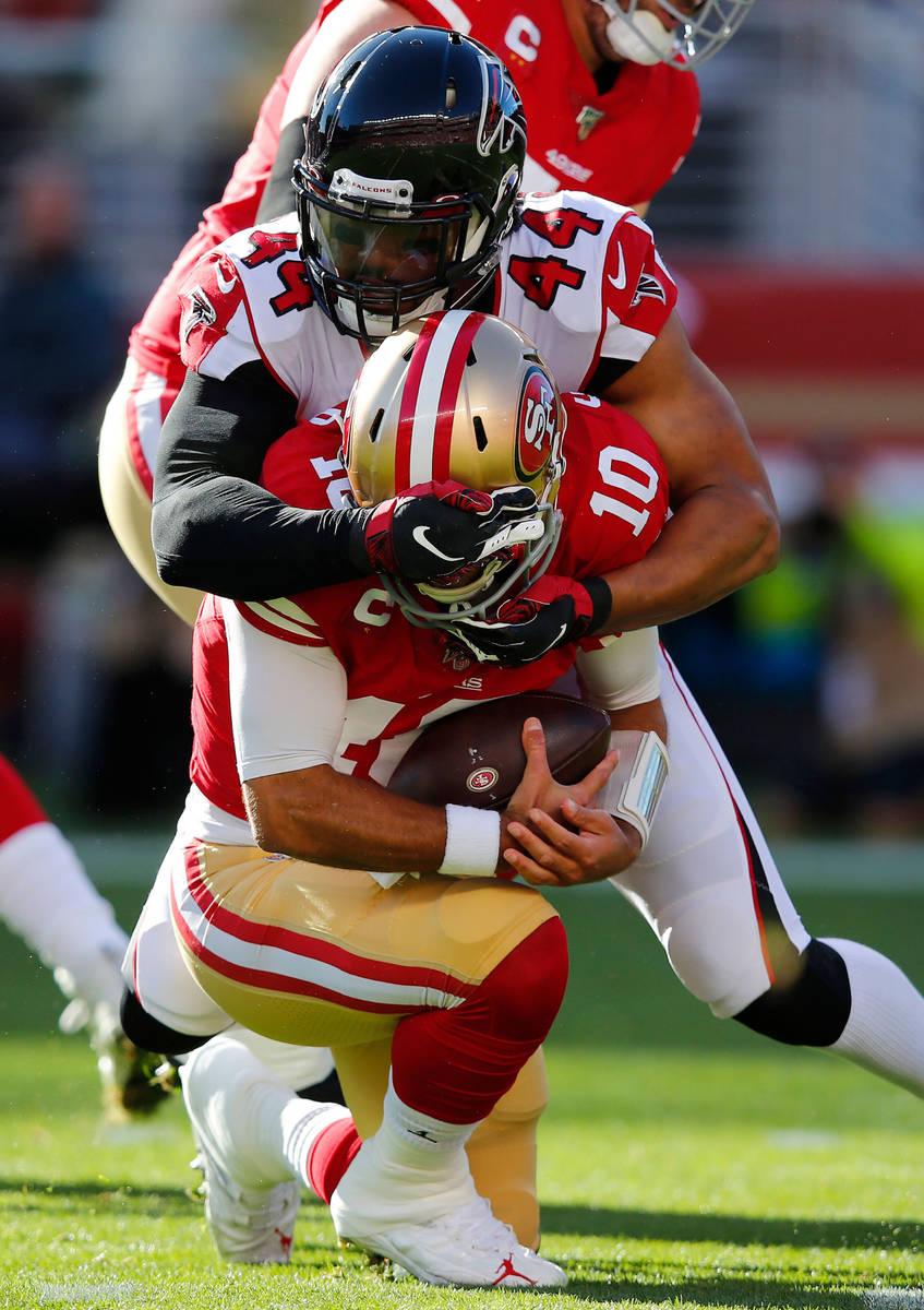 Atlanta Falcons defensive end Vic Beasley (44) sacks San Francisco 49ers quarterback Jimmy Garo ...