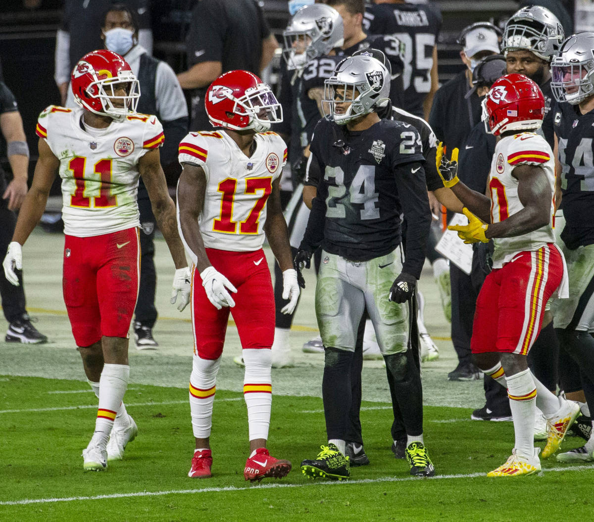 Kansas City Chiefs wide receivers Demarcus Robinson (11), Mecole Hardman (17) and Tyreek Hill ( ...