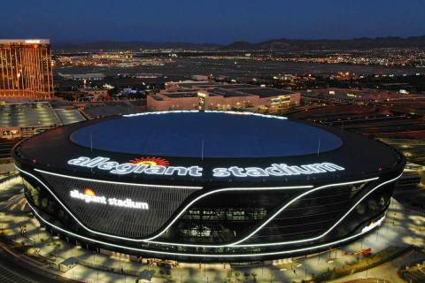 Aerial view of Allegiant Stadium on Friday, July 31, 2020, in Las Vegas. (Michael Quine/Las Veg ...