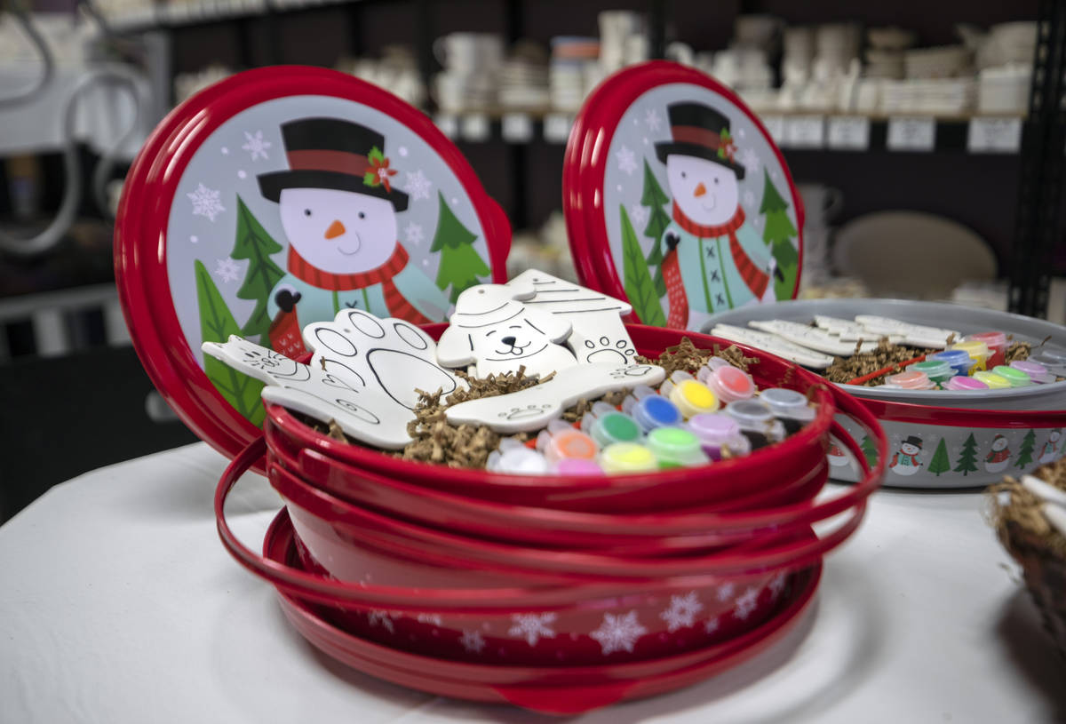 Premium holiday pottery to-go kits are seen at All Fired Up, on Tuesday, Nov. 24, 2020, in Las ...
