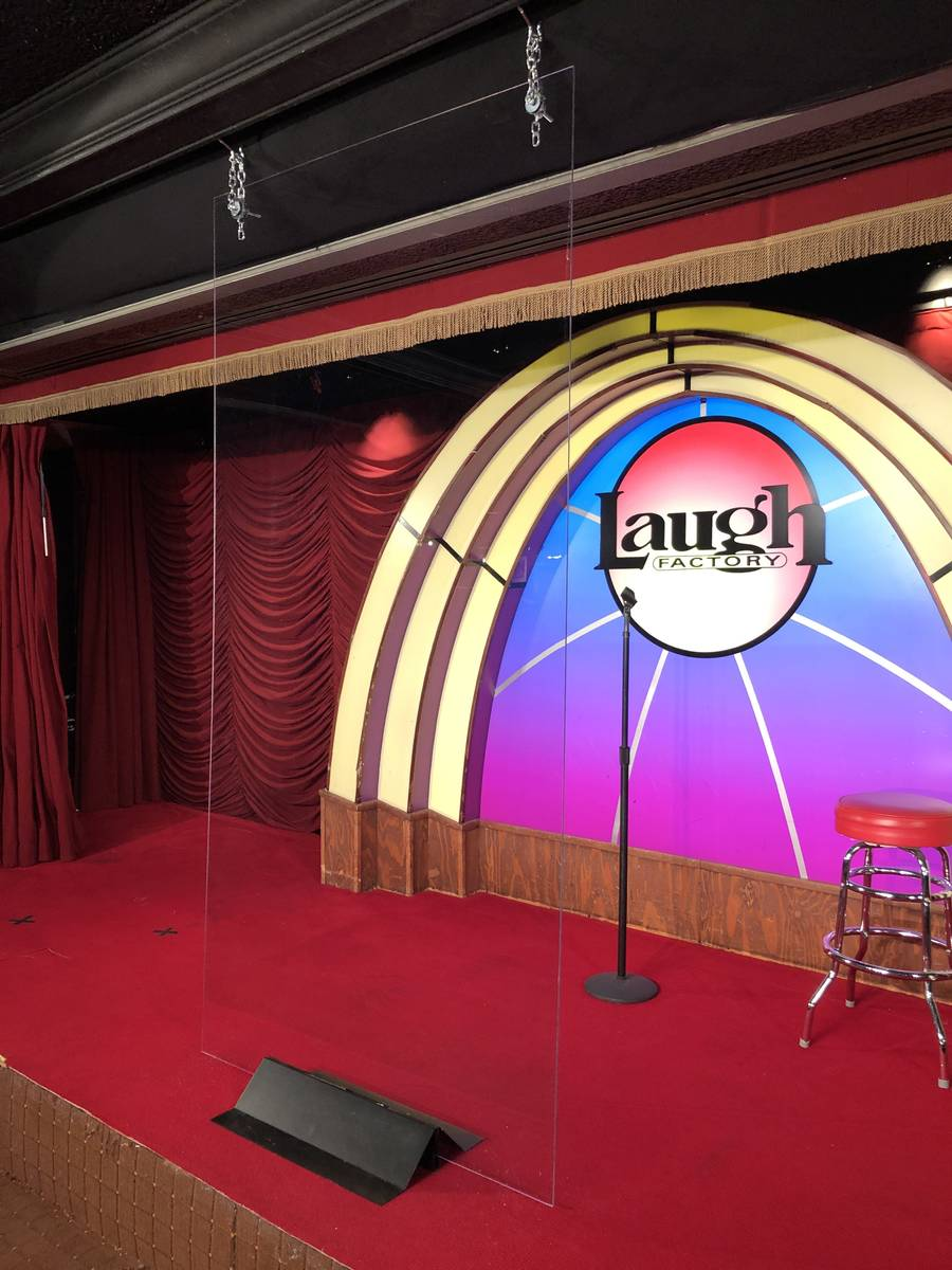 The stage at the Laugh Factory at the Tropicana, with a plexiglass barrier, as it is set for An ...
