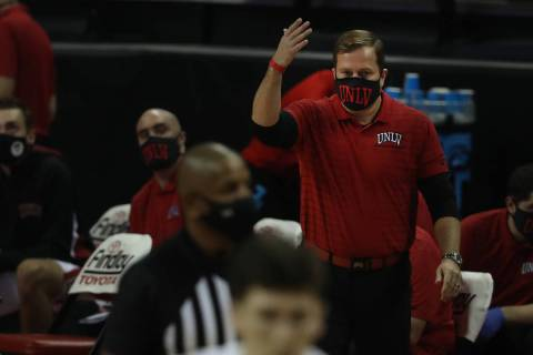 UNLV Rebels head coach T. J. Otzelberger reacts after a play against Montana State Bobcats duri ...