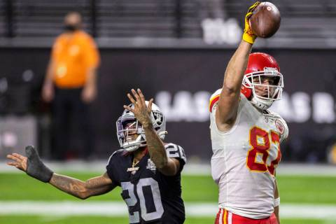 Kansas City Chiefs tight end Travis Kelce (87) celebrates after catching the winning touchdown ...