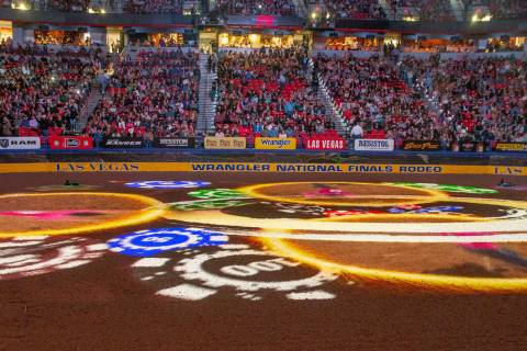 A Vegas-style opening during the tenth go round of the Wrangler National Finals Rodeo at the Th ...