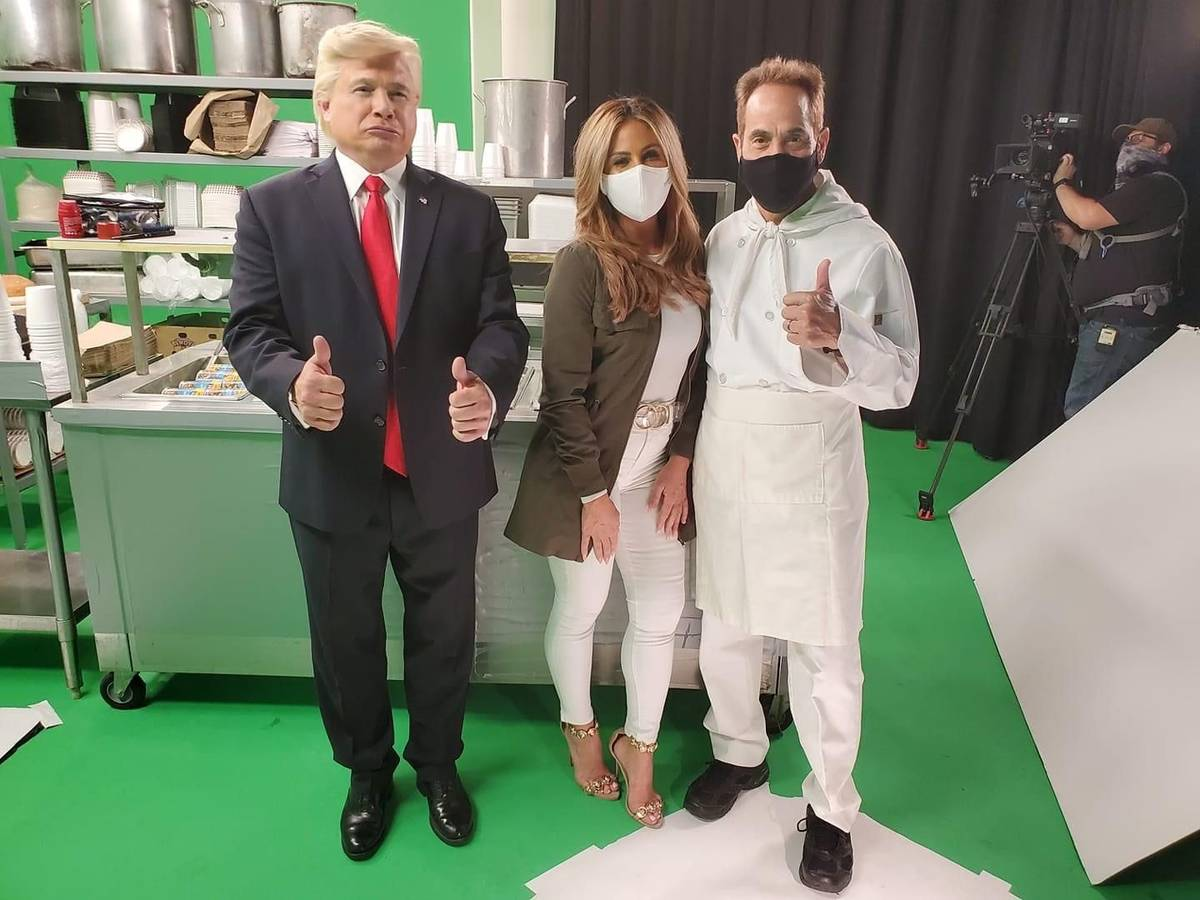 "John Di Domenico, Mikalah Gordon and Larry Thomas are shown during a taping of a ""No Mask, No S ..."