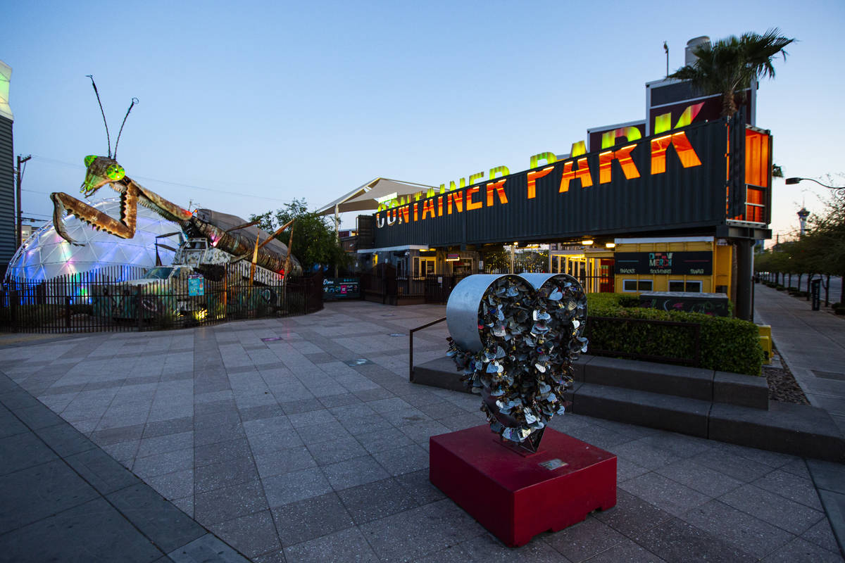 An empty Container Park as activity remains light in the wake of the closure of a stay-at-home ...