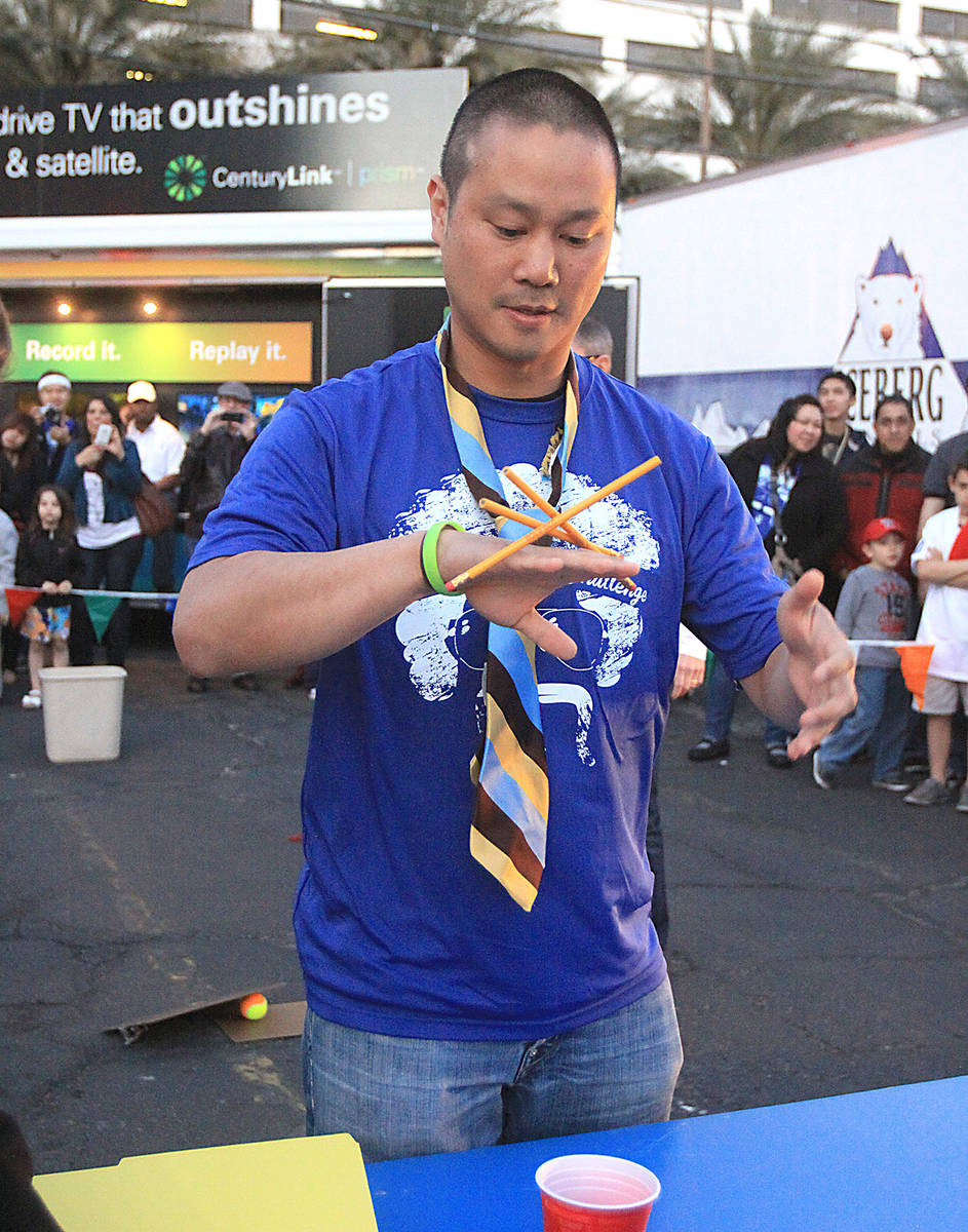 Tony Hsieh, CEO of online clothing retailer Zappos.com, takes part in the Executive Relay durin ...