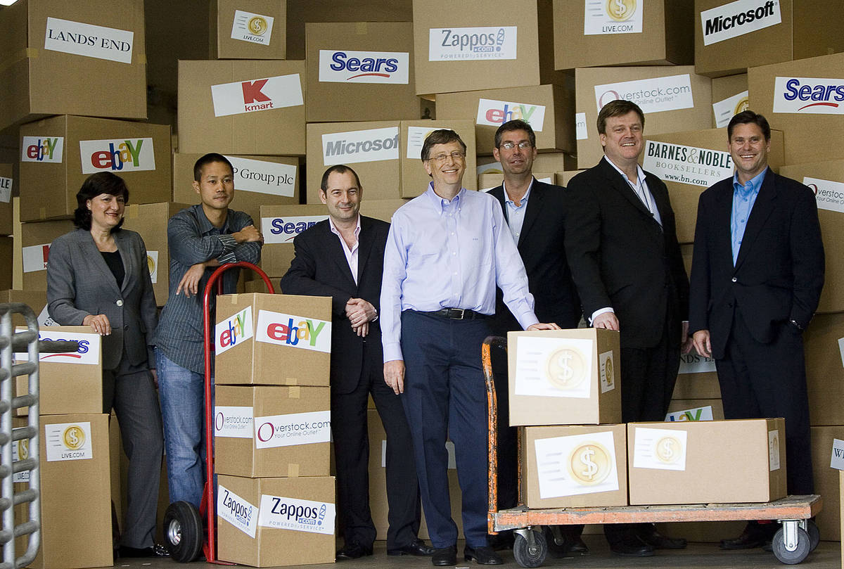 In this May 21, 2008, file photo, Marie J. Toulantis, CEO of Barnes & Noble.com; Tony Hsieh, CE ...