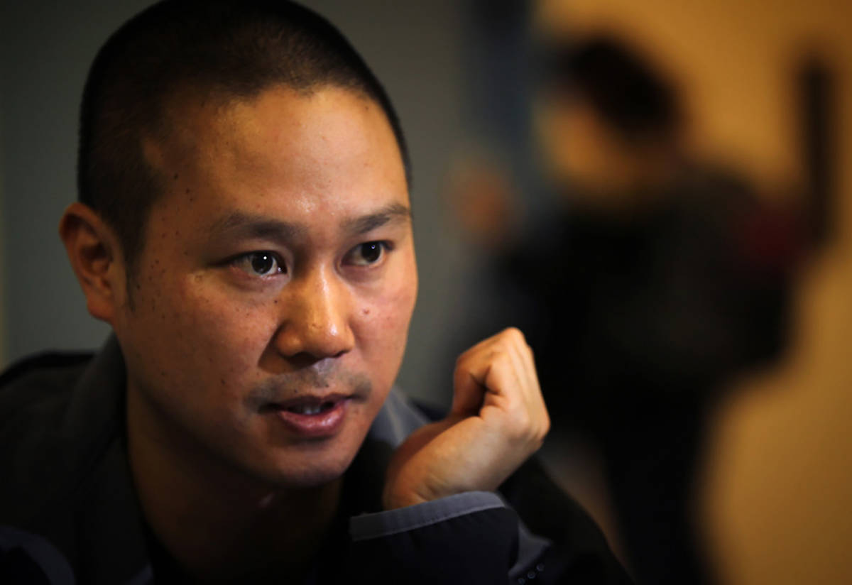 Tony Hsieh, CEO of online clothing retailer Zappos.com, takes part in an interview at The Beat ...