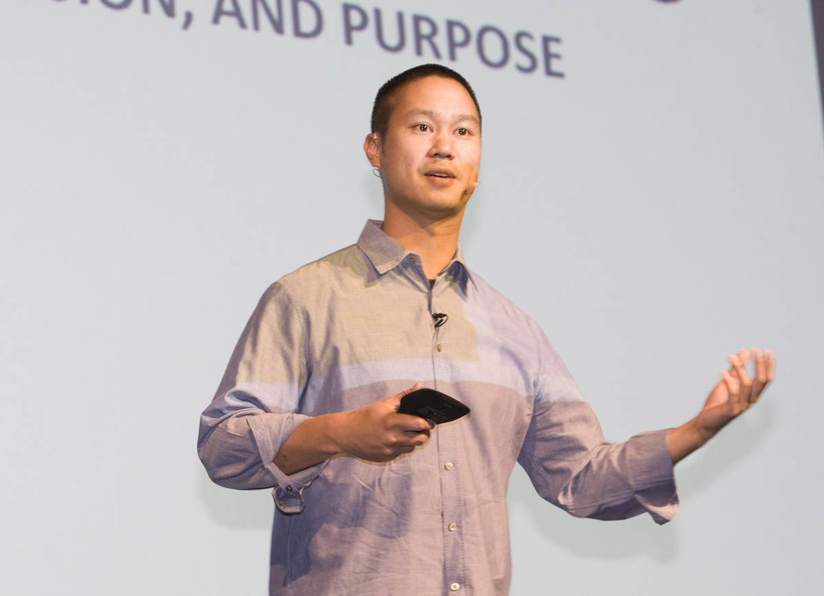 Zappos CEO Tony Hsieh speaks to a large group of Silverton associates during an employee meetin ...