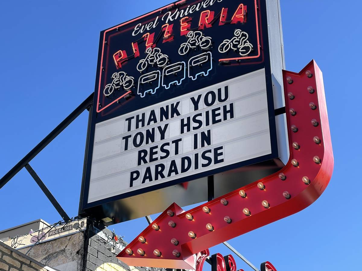 A message to Tony Hsieh is posted at Evel Pie in Las Vegas, Saturday, Nov. 28, 2020. (Kevin Ca ...