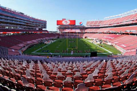 This Oct. 4, 2020, file photo, taken with a fisheye lens, shows an empty Levi's Stadium before ...